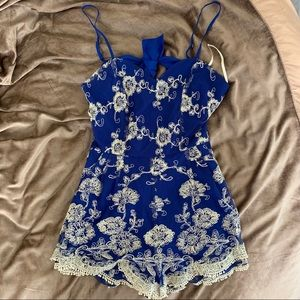 Lovers and friends royal blue romper
